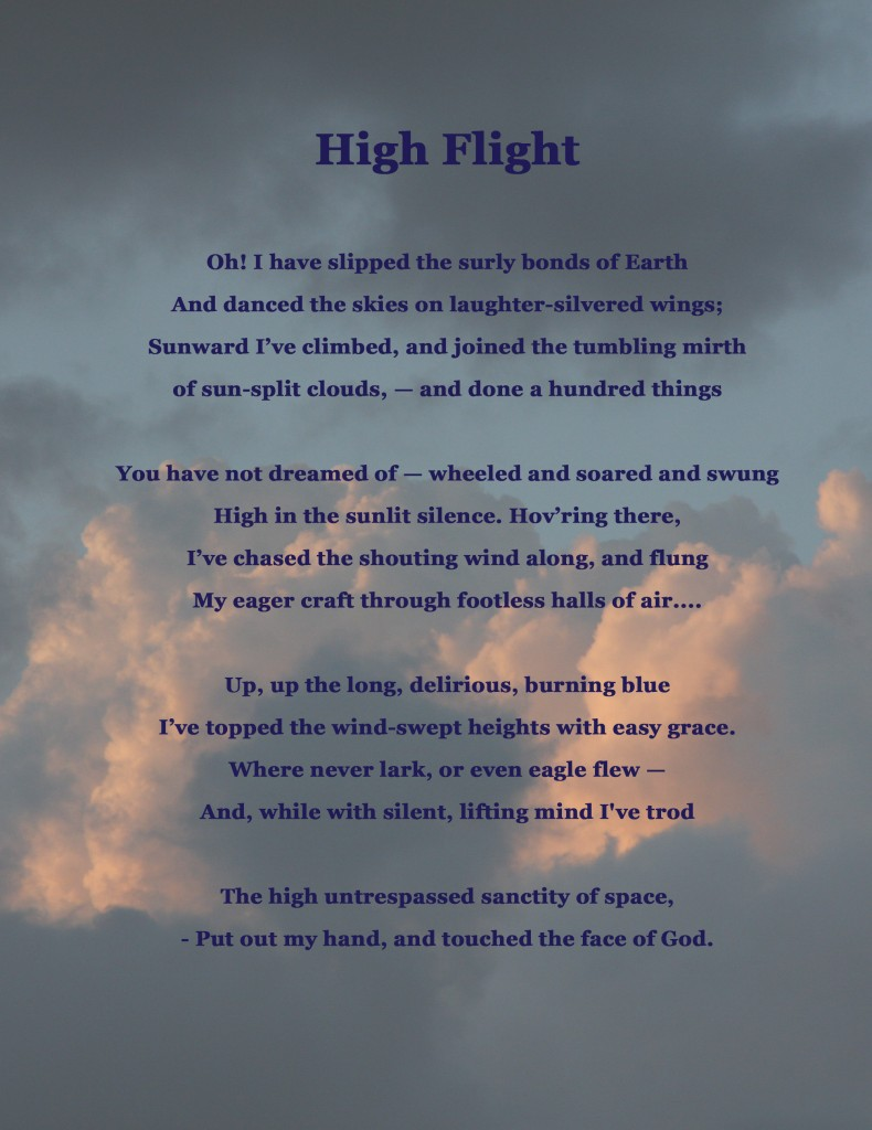 Revered image within high flight poem printable